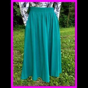 Vtg Turquoise Aline Skirt, sz 10
